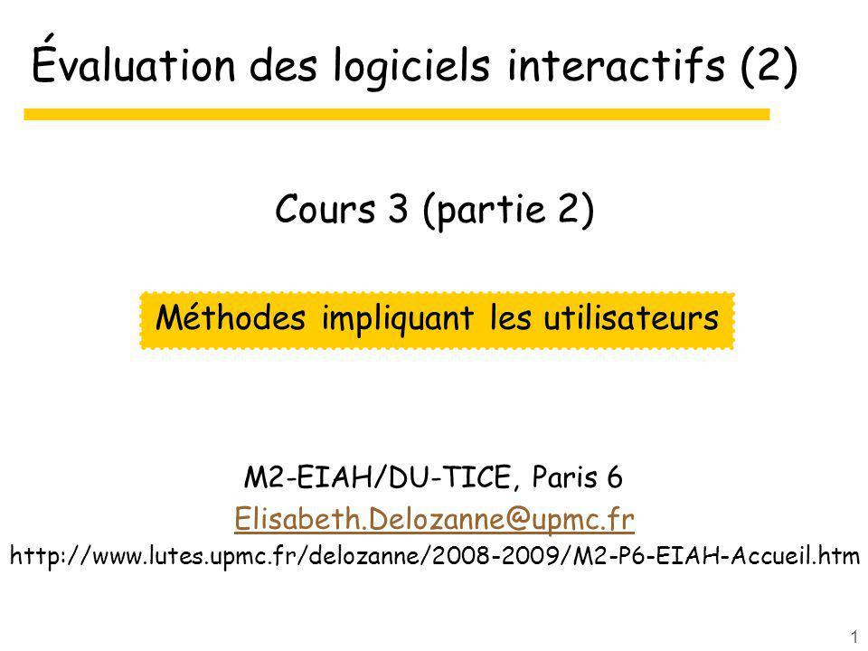 Évaluation des logiciels interactifs (2)