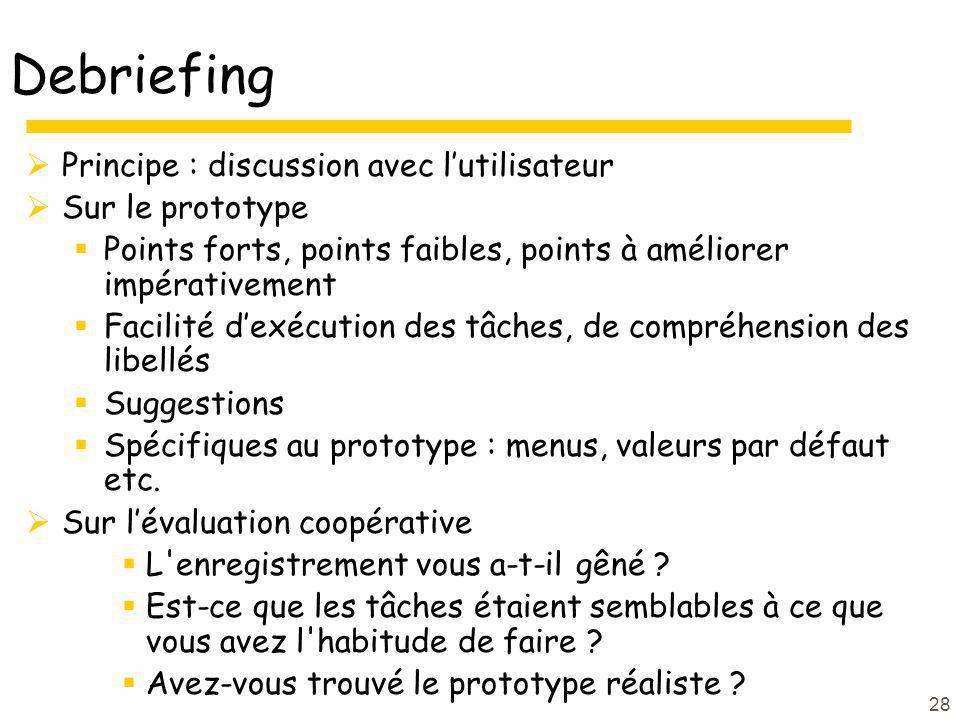 Debriefing Principe : discussion avec l'utilisateur Sur le prototype