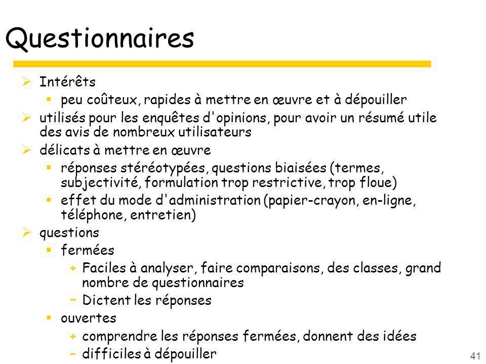 Questionnaires Intérêts