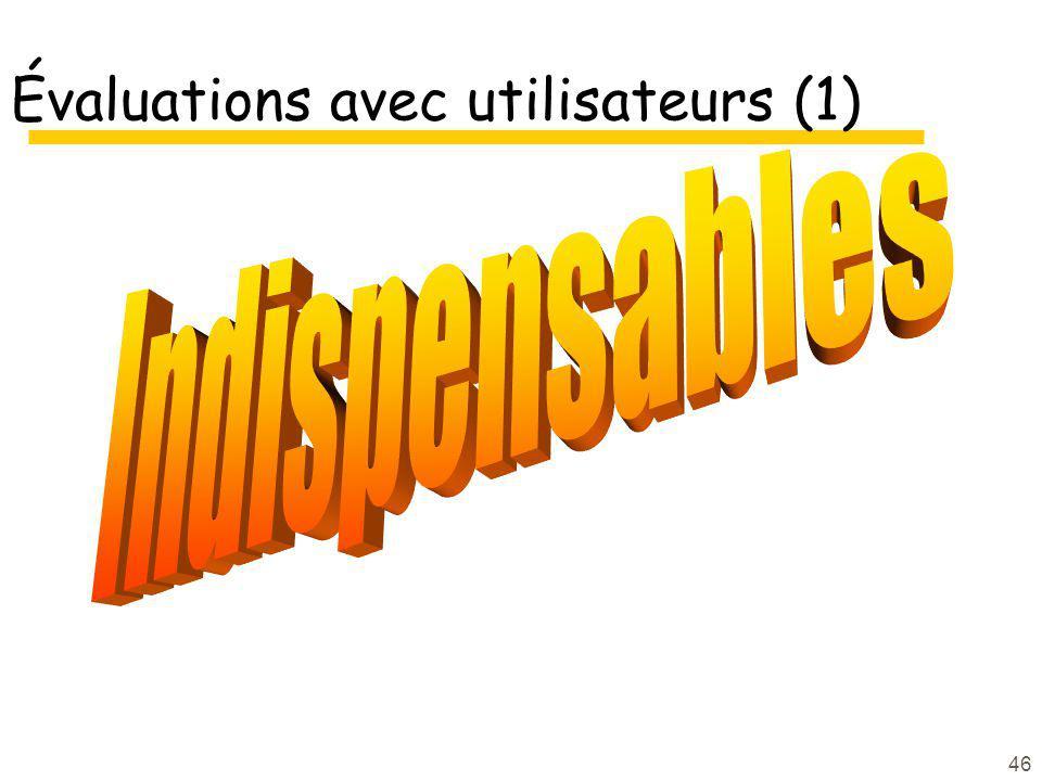 Évaluations avec utilisateurs (1)