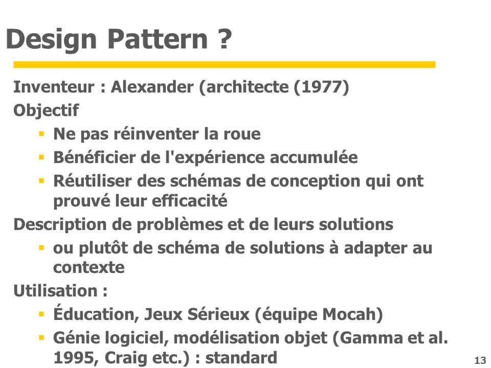 Design Pattern Inventeur : Alexander (architecte (1977) Objectif