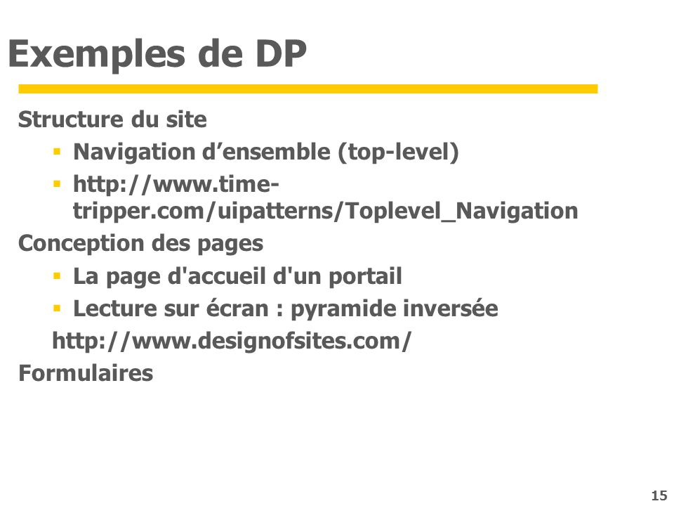 Exemples de DP Structure du site Navigation d'ensemble (top-level)