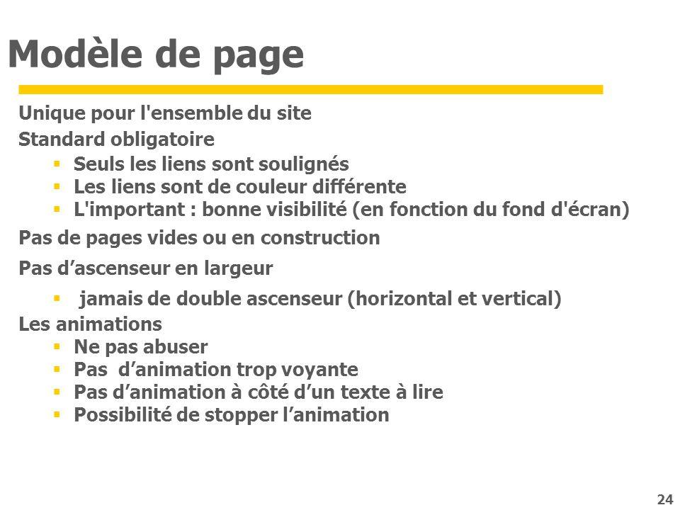 Modèle de page Unique pour l ensemble du site Standard obligatoire