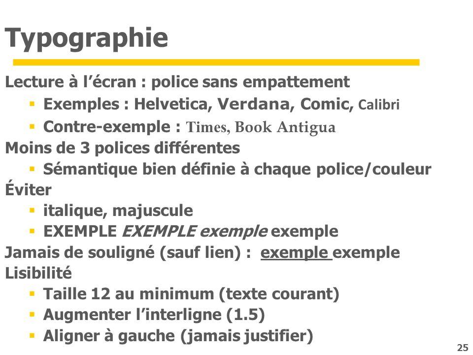 Typographie Lecture à l'écran : police sans empattement