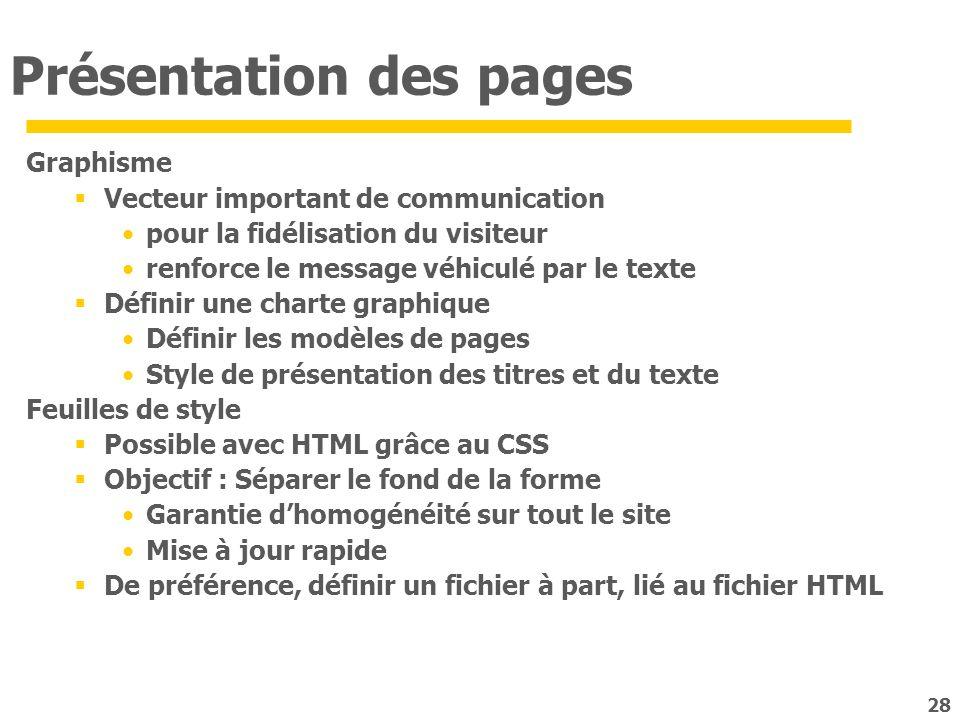 Présentation des pages