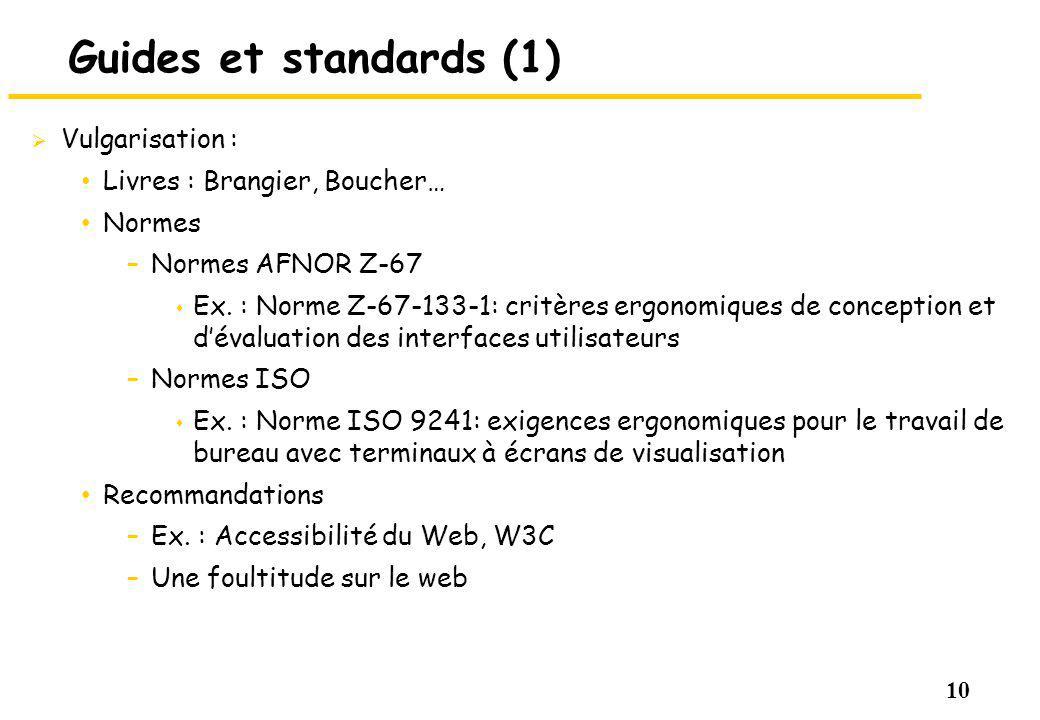 Guides et standards (1) Vulgarisation : Livres : Brangier, Boucher…