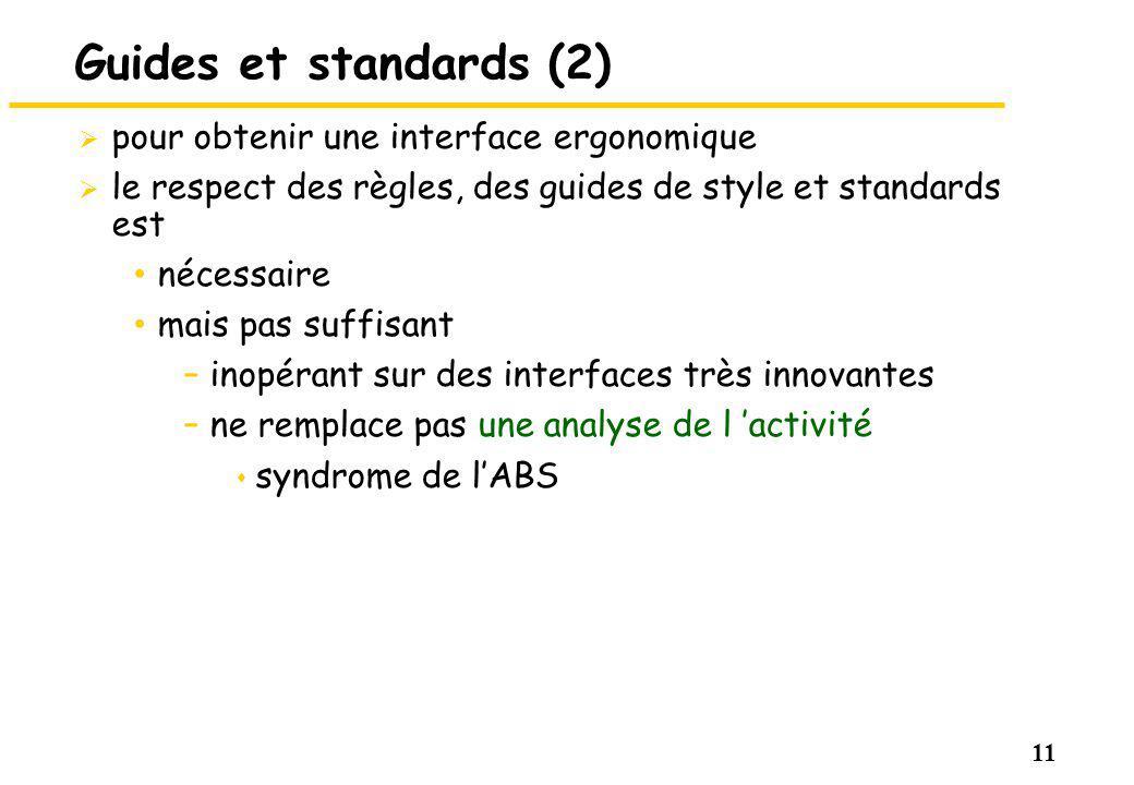 Guides et standards (2) pour obtenir une interface ergonomique