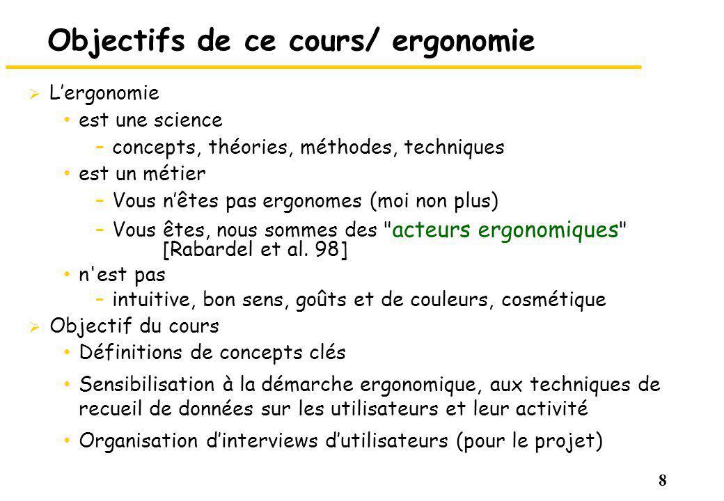 Objectifs de ce cours/ ergonomie