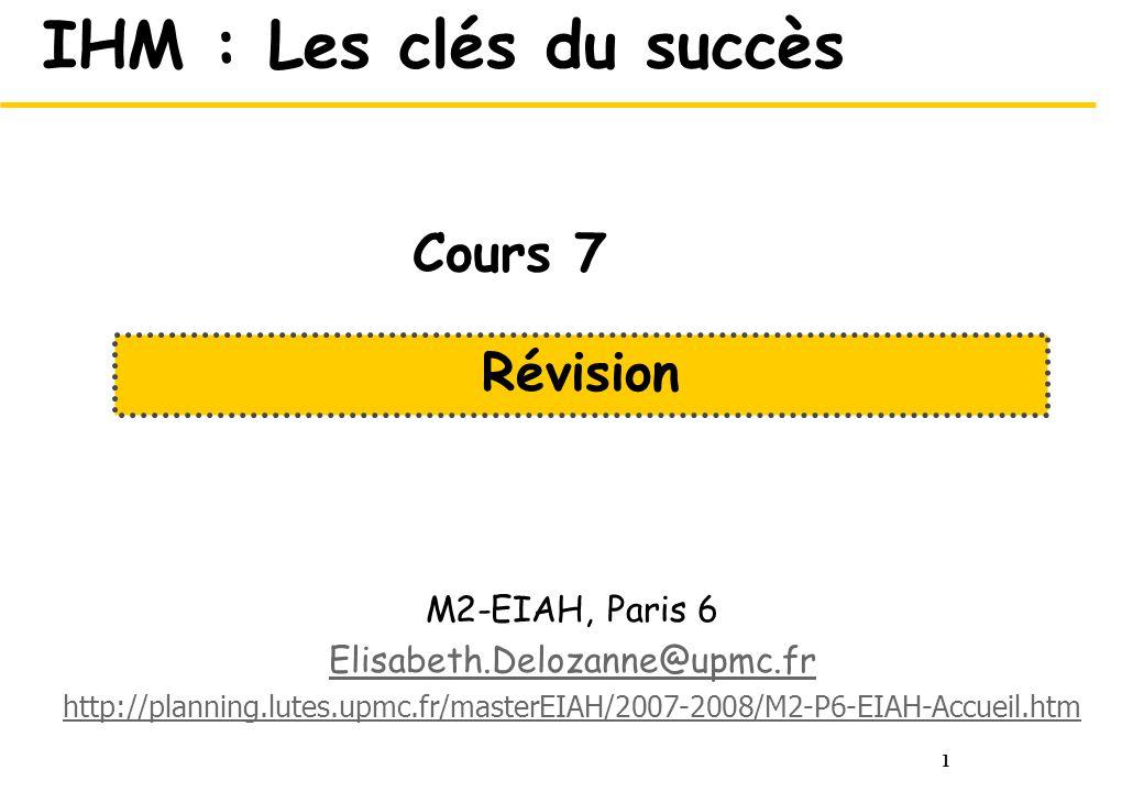 IHM : Les clés du succès Cours 7 Révision M2-EIAH, Paris 6