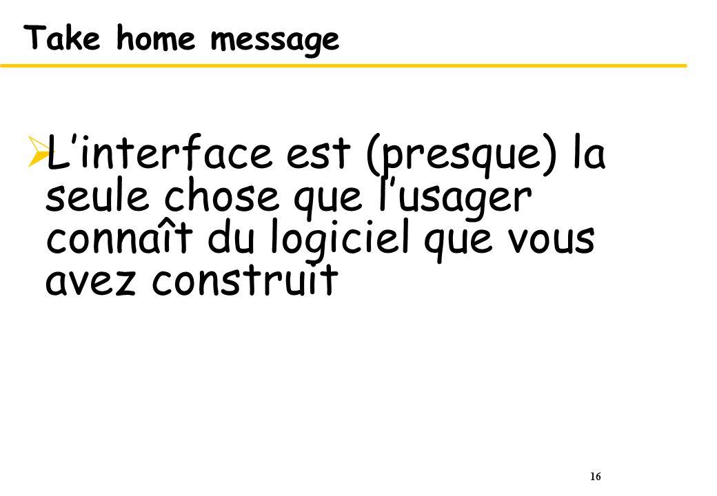 Take home message L'interface est (presque) la seule chose que l'usager connaît du logiciel que vous avez construit.