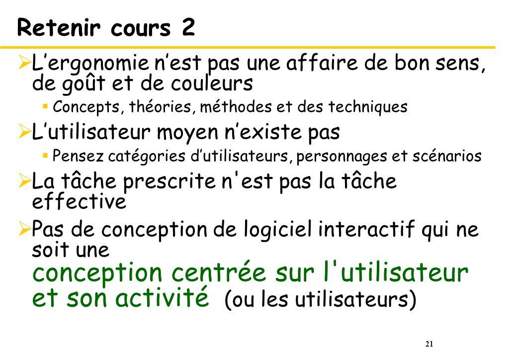 Retenir cours 2 L'ergonomie n'est pas une affaire de bon sens, de goût et de couleurs. Concepts, théories, méthodes et des techniques.