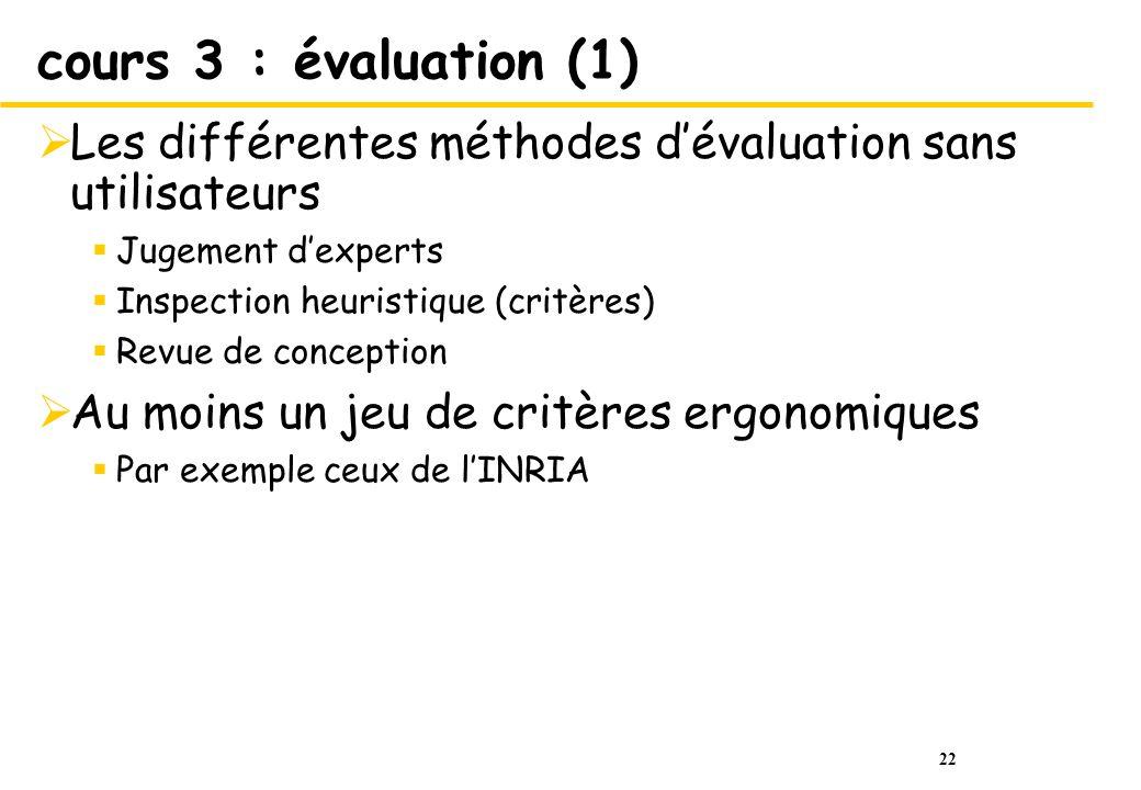 cours 3 : évaluation (1) Les différentes méthodes d'évaluation sans utilisateurs. Jugement d'experts.