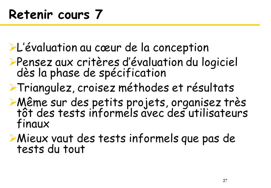 Retenir cours 7 L'évaluation au cœur de la conception