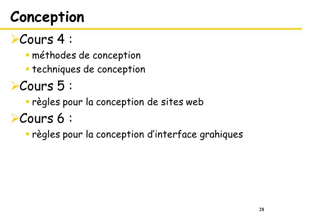 Conception Cours 4 : Cours 5 : Cours 6 : méthodes de conception