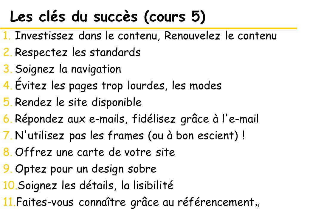Les clés du succès (cours 5)