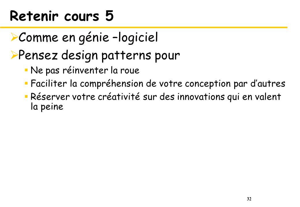 Retenir cours 5 Comme en génie –logiciel Pensez design patterns pour