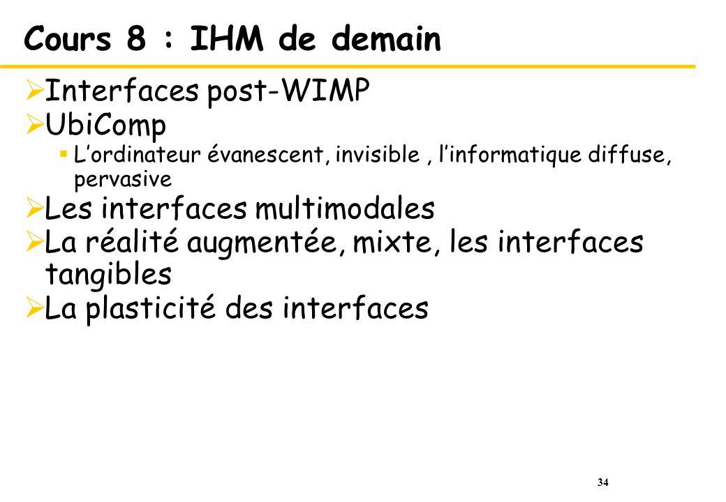 Cours 8 : IHM de demain Interfaces post-WIMP UbiComp