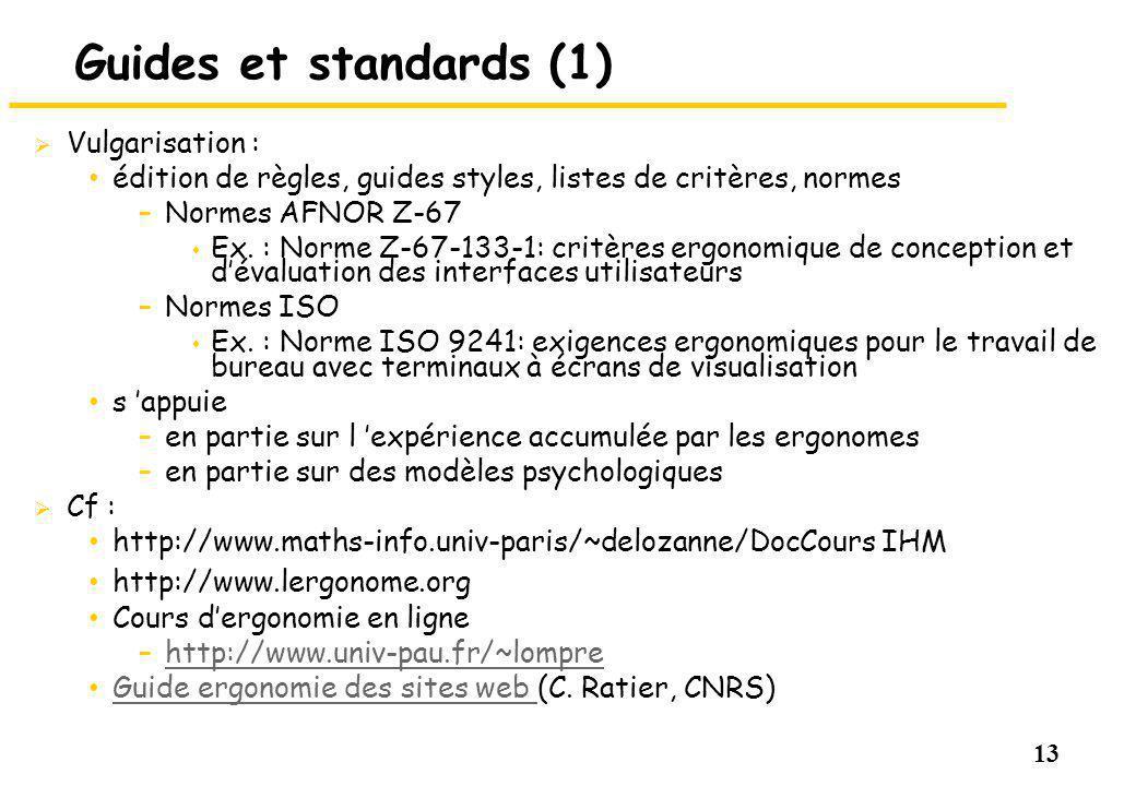 Guides et standards (1) Vulgarisation :