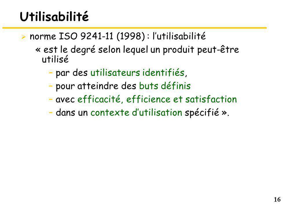 Utilisabilité norme ISO 9241-11 (1998) : l'utilisabilité