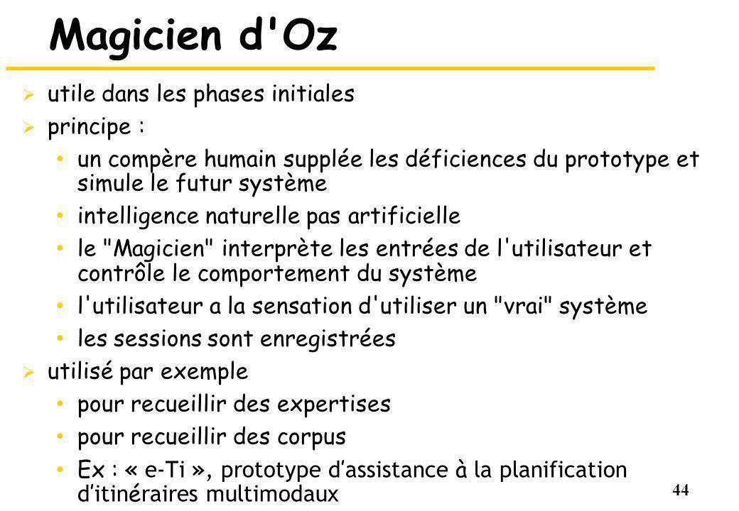 Magicien d Oz utile dans les phases initiales principe :