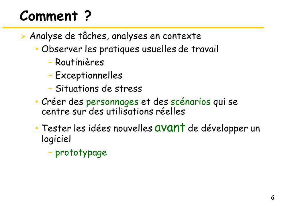 Comment Analyse de tâches, analyses en contexte