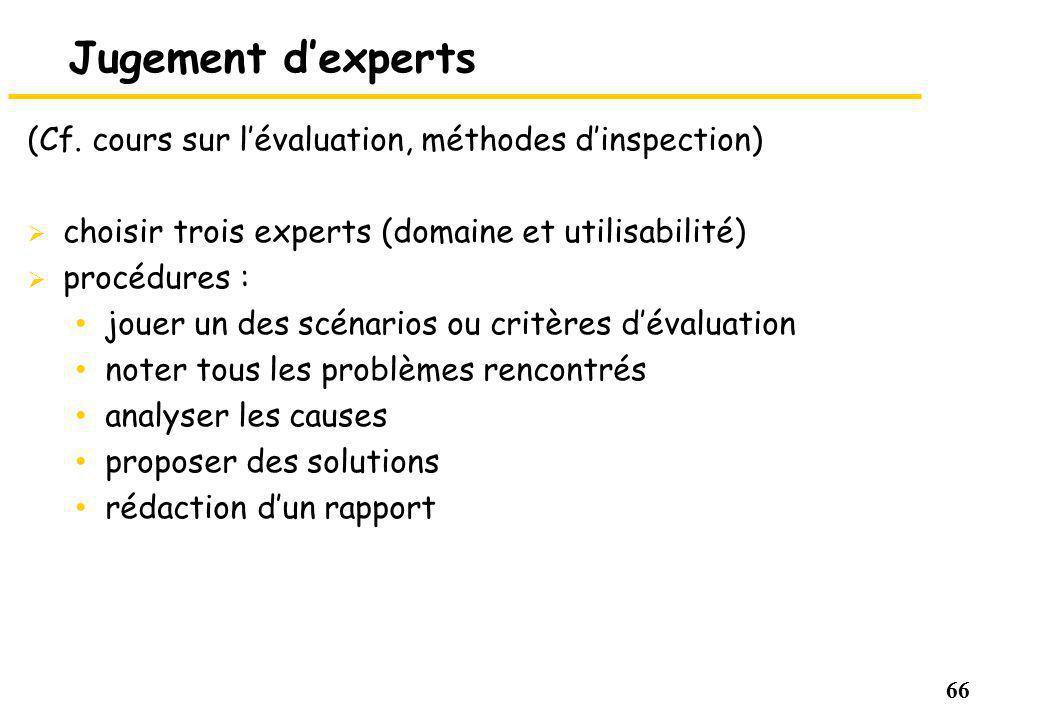 Jugement d'experts (Cf. cours sur l'évaluation, méthodes d'inspection)
