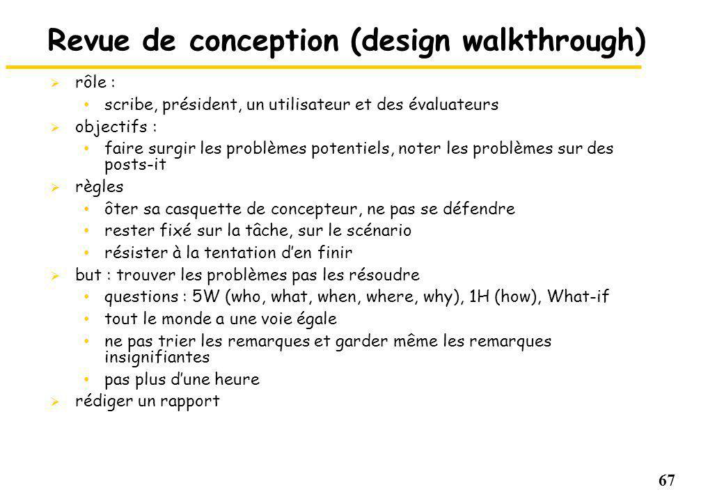 Revue de conception (design walkthrough)