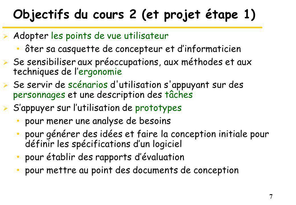 Objectifs du cours 2 (et projet étape 1)