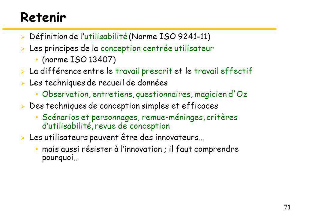Retenir Définition de l'utilisabilité (Norme ISO 9241-11)
