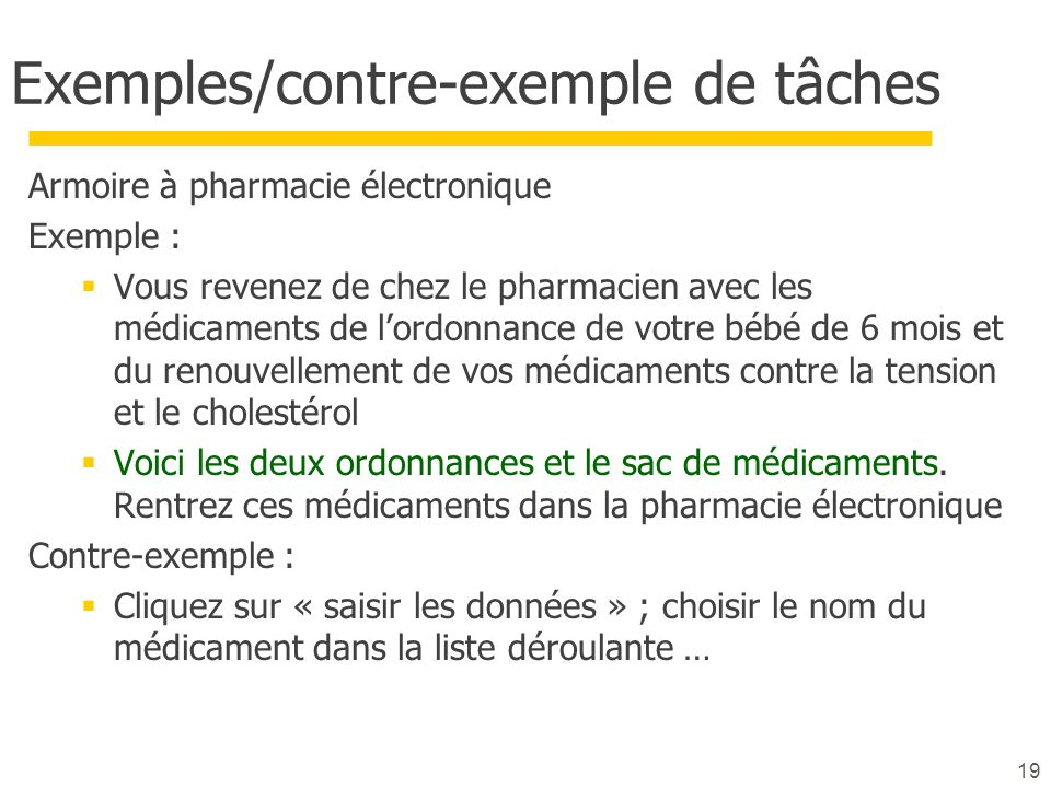 Exemples/contre-exemple de tâches