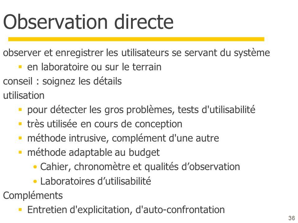 Observation directe observer et enregistrer les utilisateurs se servant du système. en laboratoire ou sur le terrain.