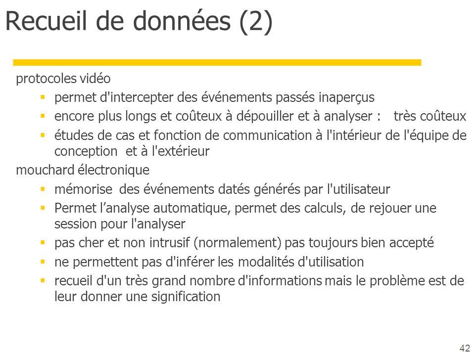 Recueil de données (2) protocoles vidéo