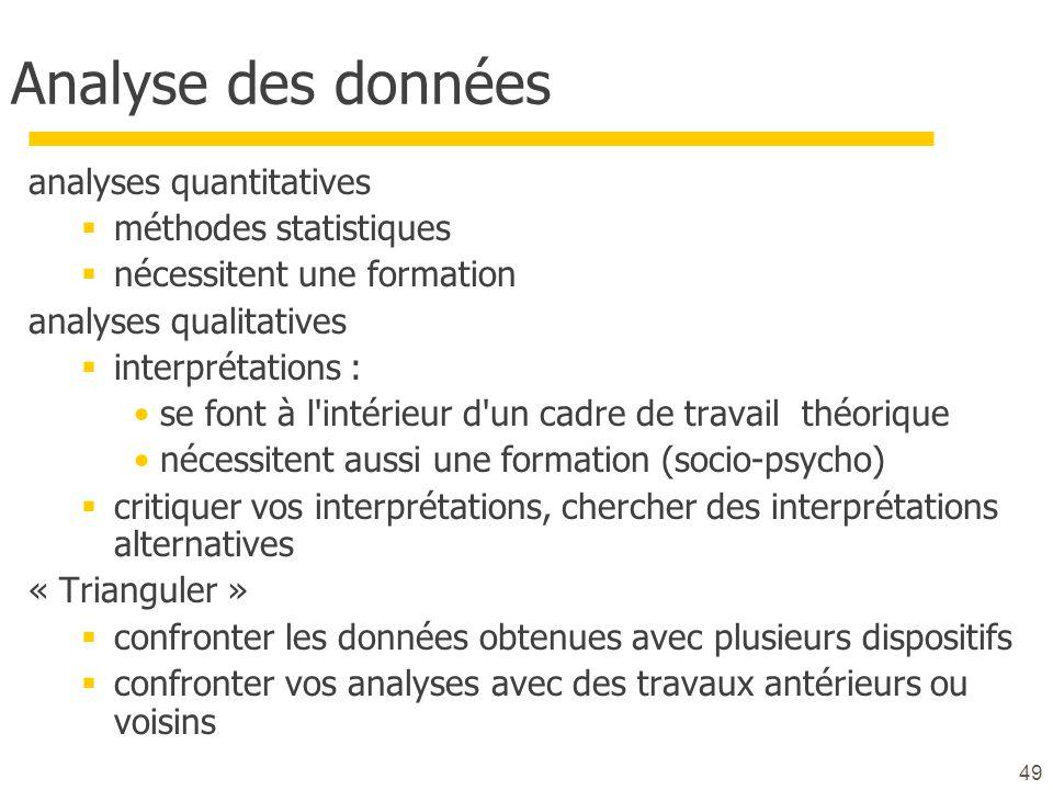 Analyse des données analyses quantitatives méthodes statistiques