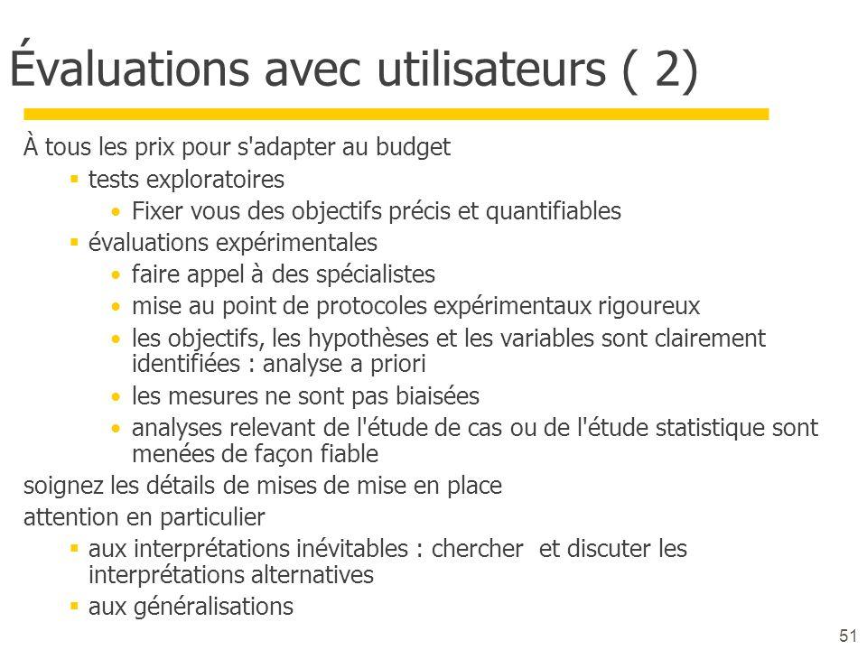 Évaluations avec utilisateurs ( 2)