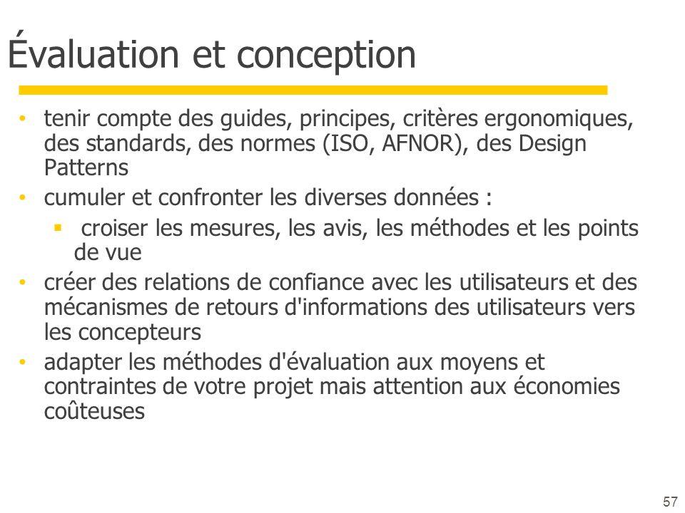 Évaluation et conception