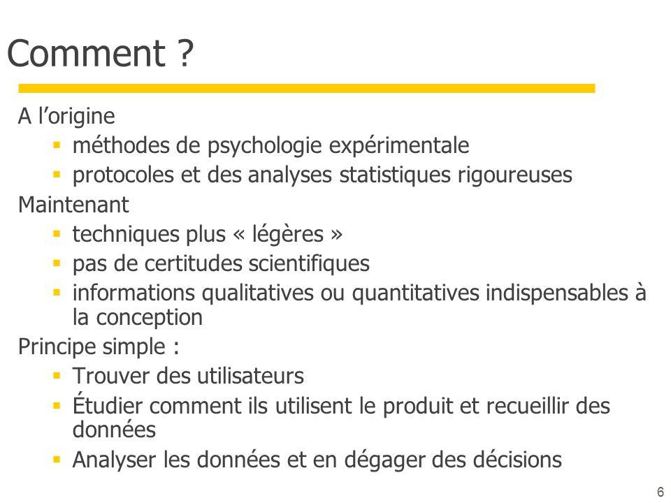 Comment A l'origine méthodes de psychologie expérimentale