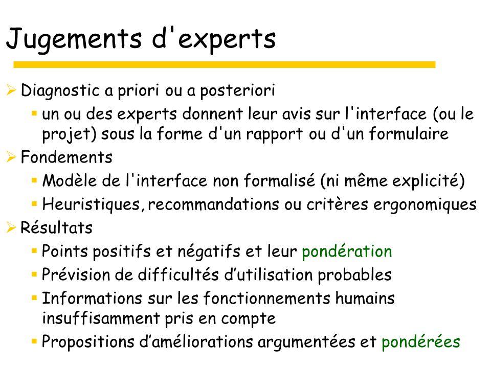 Jugements d experts Diagnostic a priori ou a posteriori