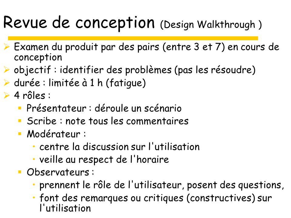 Revue de conception (Design Walkthrough )