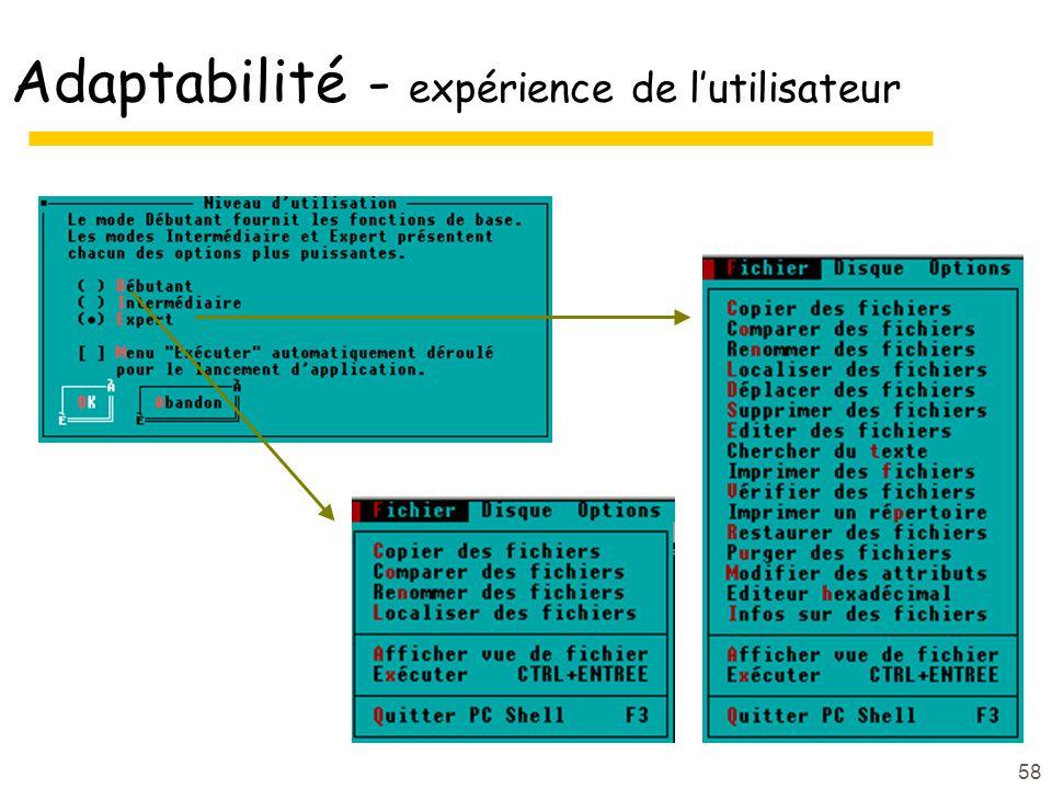 Adaptabilité - expérience de l'utilisateur
