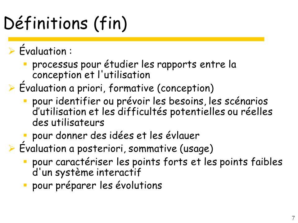 Définitions (fin) Évaluation :