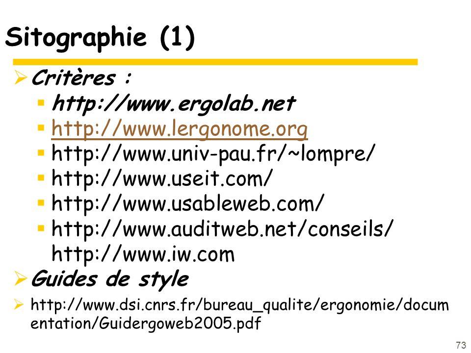 Sitographie (1) Critères : http://www.ergolab.net
