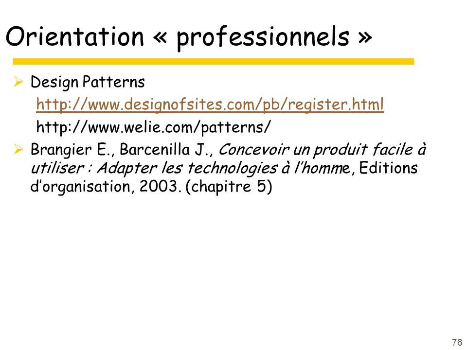 Orientation « professionnels »