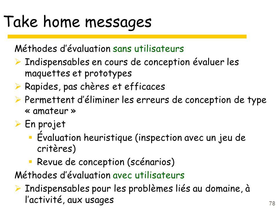 Take home messages Méthodes d'évaluation sans utilisateurs