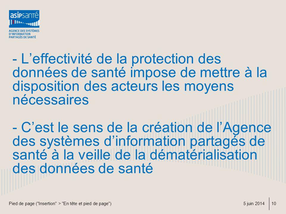 - L'effectivité de la protection des données de santé impose de mettre à la disposition des acteurs les moyens nécessaires - C'est le sens de la création de l'Agence des systèmes d'information partagés de santé à la veille de la dématérialisation des données de santé