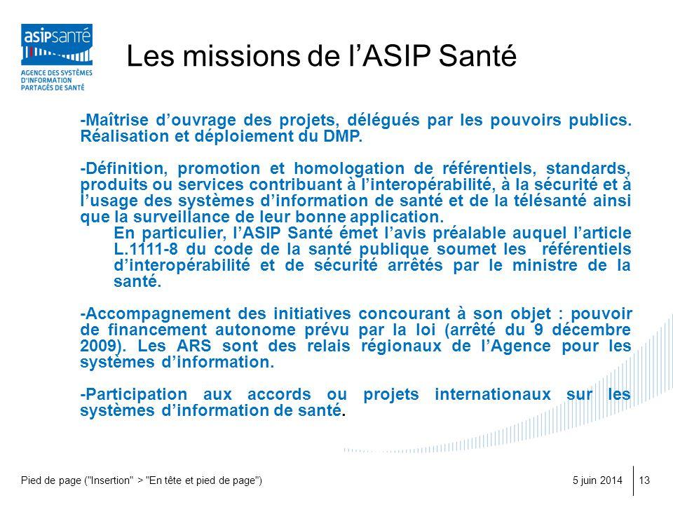 Les missions de l'ASIP Santé