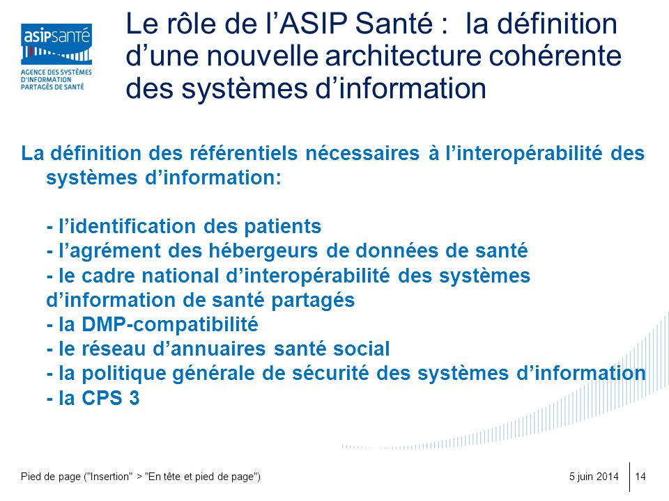 Le rôle de l'ASIP Santé : la définition d'une nouvelle architecture cohérente des systèmes d'information