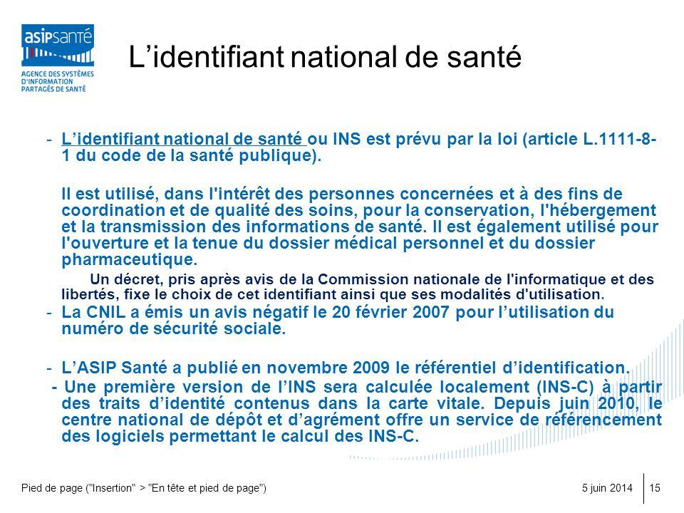 L'identifiant national de santé