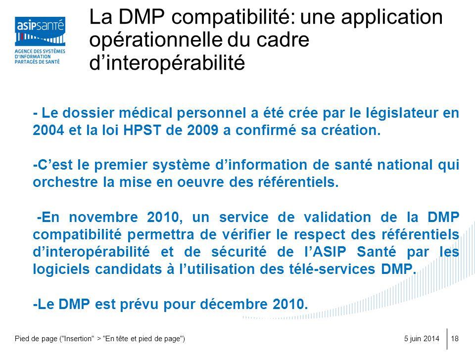 La DMP compatibilité: une application opérationnelle du cadre d'interopérabilité