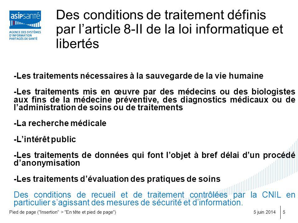 Des conditions de traitement définis par l'article 8-II de la loi informatique et libertés