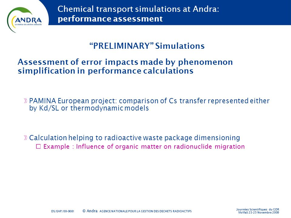 Chemical transport simulations at Andra: performance assessment